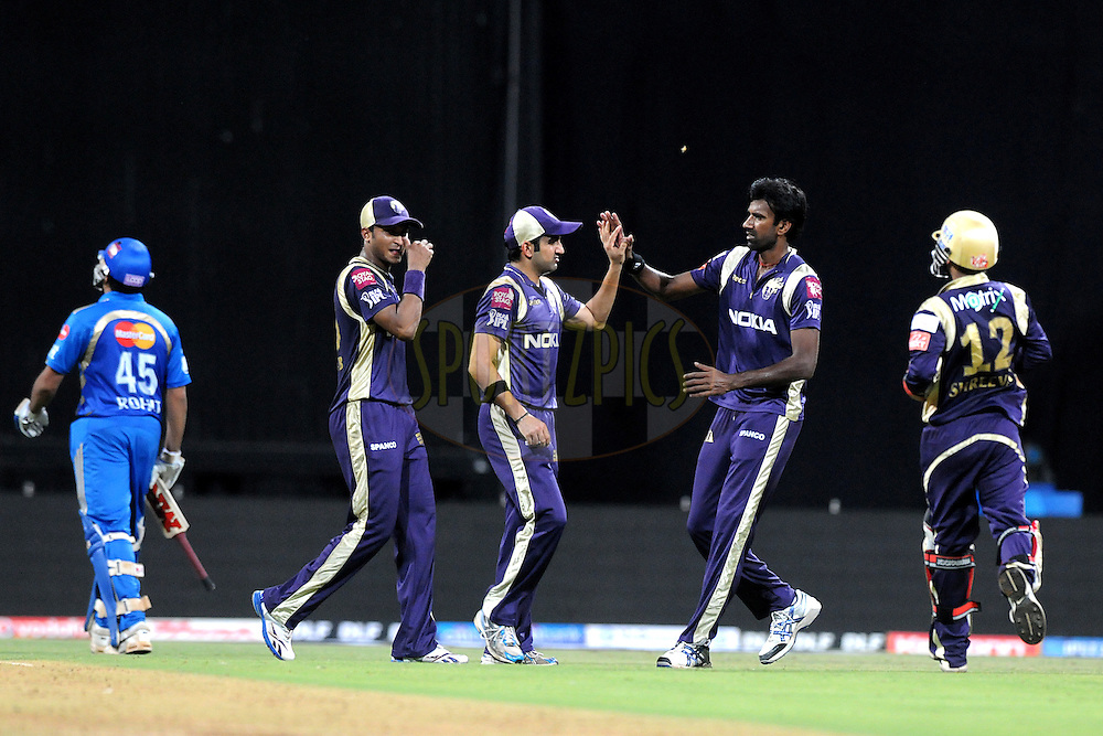 Gautam Gambhir of Kolkata Knight Riders celebrates a wicket during the IPL Season 4 eliminator match of the Indian Premier League between the Mumbai Indians and the Kolkata Knight Riders held at the Wankhede Stadium, Mumbai, India on the 25th May 2011..Photo by Pal Pillai/BCCI/SPORTZPICS.