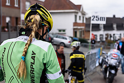 Alison Tetrick waits for her teammates at sign in - Pajot Hills Classic 2016, a 122km road race starting and finishing in Gooik, on March 30th, 2016 in Vlaams Brabant, Belgium.