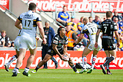 Hull FC right wing Mahe Fonua (2) passes the ball out  during the Challenge Cup 2017 semi final match between Hull RFC and Leeds Rhinos at the Keepmoat Stadium, Doncaster, England on 29 July 2017. Photo by Simon Davies.