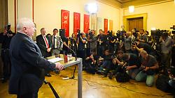 09.05.2016, Parlament, Wien, AUT, SPÖ, Pressekonferenz nach Sitzung des Parteivorstands nach dem überraschenden Rücktritt von Bundeskanzler Faymann. im Bild Interimistischer Bundesparteiobmann Michael Häupl // interim chairman of the social democratic party Michael Haeupl during press conference after board meeting of the austrian social democratic party afterresignation of the austrian chancellorFaymann at austrian parliament in Vienna, Austria on 2016/05/09. EXPA Pictures © 2016, PhotoCredit: EXPA/ Michael Gruber
