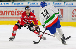 12.04.2018, Tiroler Wasserkraft Arena, Innsbruck, AUT, Eishockey Testspiel, Österreich vs Italien, während dem Eishockey Testspiel Österreich vs Italien am Donnerstag, 12. April 2018 in Innsbruck, im Bild v.l.: Christof Wappis (AUT) und Nathan di Casmirro (ITA) // during the International Icehockey Friendly match between Austria and Italy at the Tiroler Wasserkraft Arena in Innsbruck, Austria on 2018/04/12. EXPA Pictures © 2018, PhotoCredit: EXPA/ Jakob Gruber