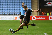 Wasps flyhalf Jimmy Gopperth (12) Kicks a conversion during the Gallagher Premiership Rugby match between Wasps and Saracens at the Ricoh Arena, Coventry, England on 21 February 2020.
