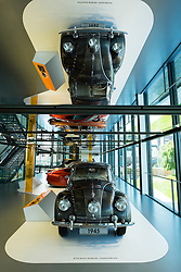 Tatra 87, from 1945, first mass -produced car to incorporate wind tunnel testing, on display at Autostadt in Wolfsburg, Germany