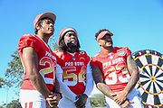 Jan 25, 2019; Kissimmee, FL, USA; Jacksonville Jaguars cornerback Jalen Ramsey (20) Los Angeles Chargers defensive end Melvin Ingram lll (54) and New York Jets strong safety Jamal Adams (33) after the NFC team photo for the 2019 Pro Bowl at ESPN Wide World of Sports Complex. (Kim Hukari/Image of Sport)