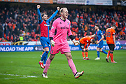 Mark Ridgers (#1) of Inverness Caledonian Thistle FC celebrates at the final whistle of the William Hill Scottish Cup quarter final match between Dundee United and Inverness CT at Tannadice Park, Dundee, Scotland on 3 March 2019.