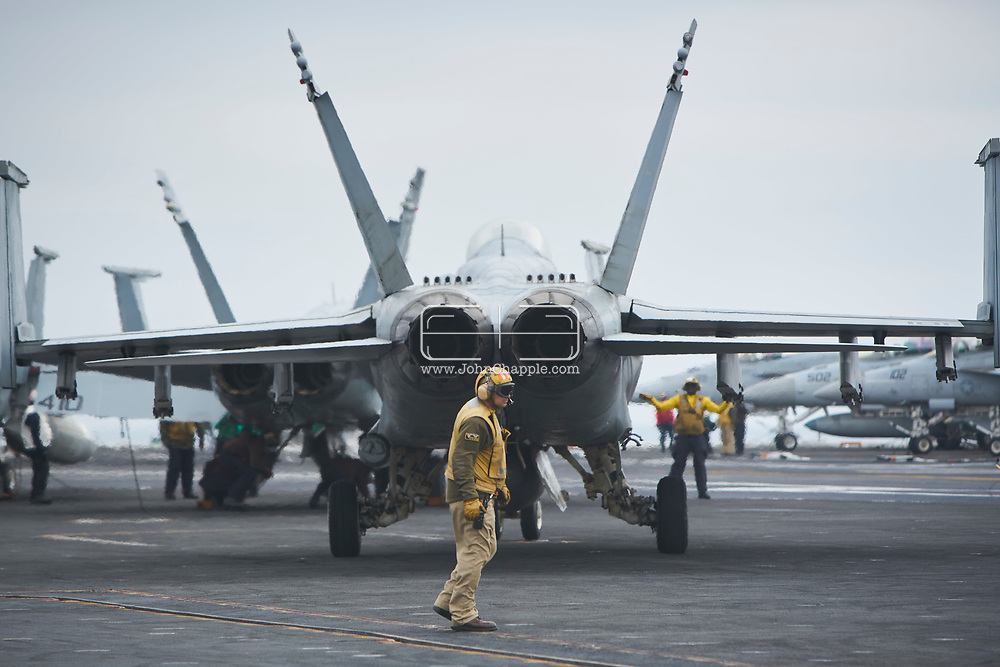 October 29, 2017. San Diego, California. Daily life on board the US Navy's Nimitz-class aircraft carrier, the USS Carl Vinson. The 1092 ft long, 95,000 ton vessel was training in the Pacific Ocean. Pictured are F18 Super Hornets<br /> Photo copyright John Chapple / www.JohnChapple.com