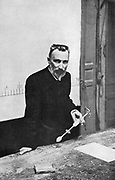 Pierre Curie (1859-1908) French chemist, in the lecture theatre in 1906 when professor of physics at the Sorbonne