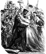 Shakespeare 'Othello' Act 2: Othello welcoming Desdemona to Cyprus. 19th century engraving.
