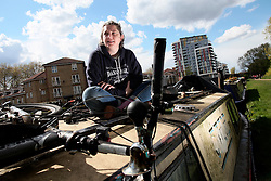 UK ENGLAND LONDON 30APR16 - London Canal boat resident Jo Dunphy on her boat, the 'Driftwood', near Hackney Wick, east London.<br /> <br /> <br /> jre/Photo by Jiri Rezac<br /> <br /> <br /> &copy; Jiri Rezac 2016