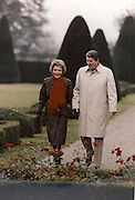 March 6, 2016 - NANCY REAGAN, Ronald Reagan's widow and First Lady from 1981-1989, has died at 94. The cause of death was congestive heart failure. Pictured: Nov 17, 1985 - Geneva, Switzerland - NANCY REAGAN and RONALD WILSON REAGAN walk together through a castle's garden during their brief trip to Europe. <br /> ©Michael Evans/Exclusivepix Media