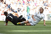 Real Madrid´s Michel Salgado (R) and Liverpool´s Dudek during 2015 Corazon Classic Match between Real Madrid Leyendas and Liverpool Legends at Santiago Bernabeu stadium in Madrid, Spain. June 14, 2015. (ALTERPHOTOS/Victor Blanco)
