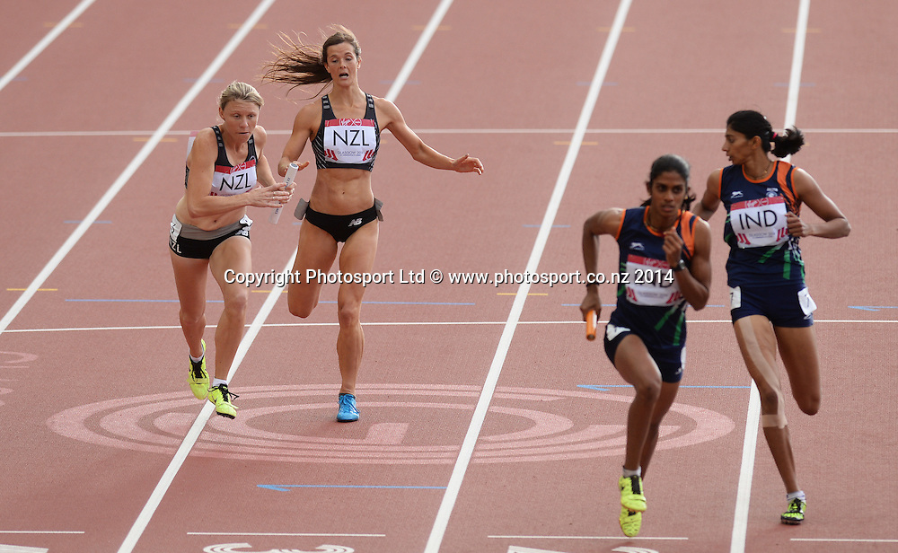 The New Zealand 4x400m Womens team of Portia Bing, Brooke Cull, Zoe Ballantyne and Louise Jones. Track and Field at Hampden Park. Glasgow Commonwealth Games 2014. Friday 1 August 2014. Scotland. Photo: Andrew Cornaga/www.Photosport.co.nz