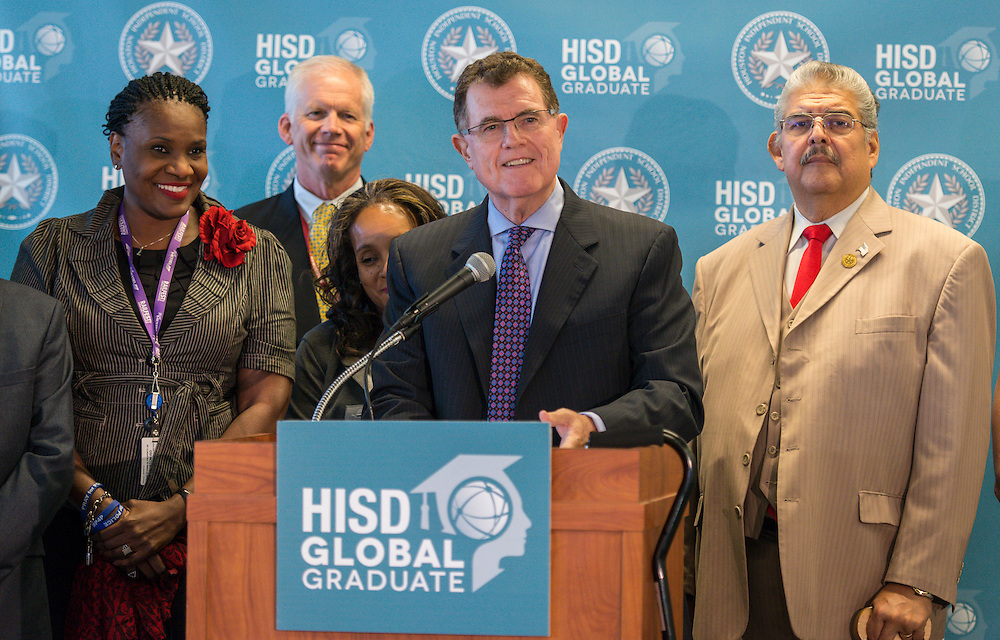 Houston ISD Superintendent Dr. Terry Grier announces he is ending his tenure with HISD, effective March 1, 2016, during a news conference September 10, 2015.