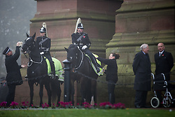 © Licensed to London News Pictures . 02/11/2015 . Liverpool , UK . Mounted police at the funeral of Police Constable Dave Phillips , at Liverpool Cathedral . Five people are charged in connection with his death , including Clayton Williams , 18 , from Wallasey , who is charged with murder . Photo credit: Joel Goodman/LNP