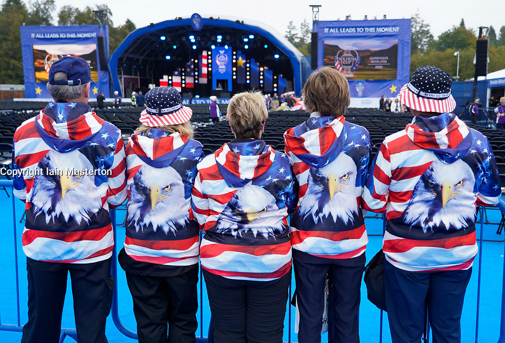 Auchterarder, Scotland, UK. 12 September 2019. Final practice day for the 2019 Solheim Cup before the official opening saw many patriotic fans arrive on the course at Gleneagles. Pictured; Team USA fans from Delaware in the USA wearing patriotic American Eagle shirts. Iain Masterton/Alamy Live News