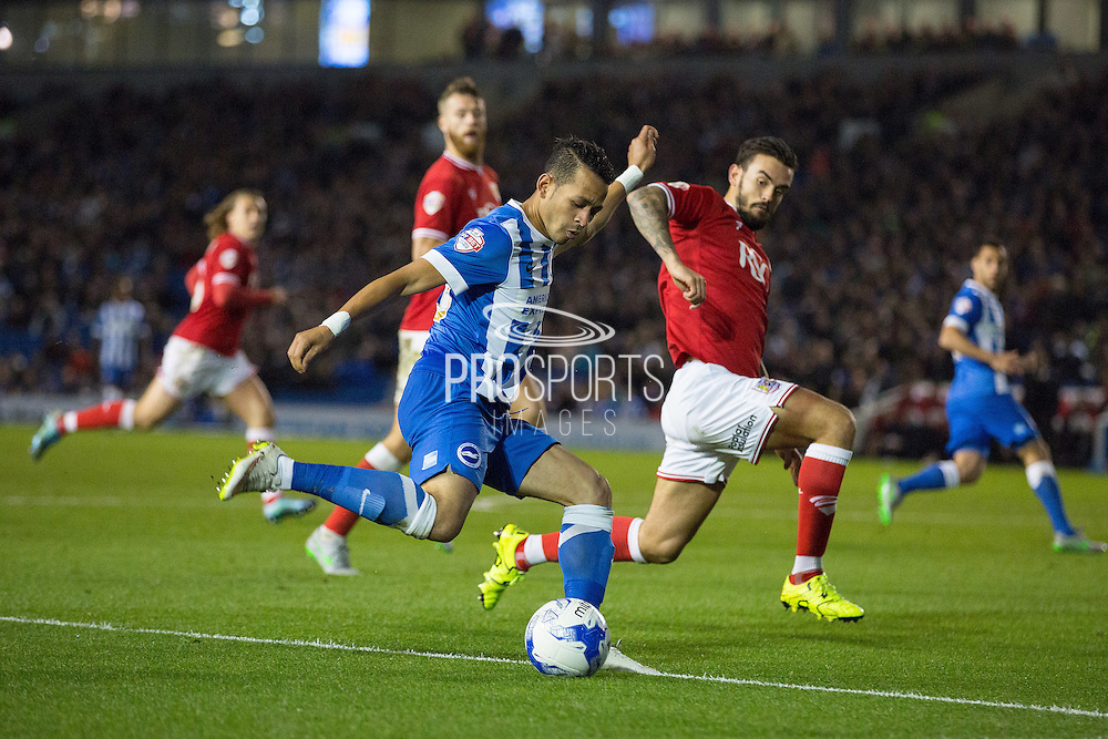 Brighton central midfielder, Beram Kayal (7) shoots at goal during the Sky Bet Championship match between Brighton and Hove Albion and Bristol City at the American Express Community Stadium, Brighton and Hove, England on 20 October 2015. Photo by Phil Duncan.
