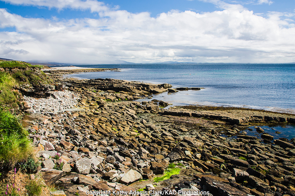 Rocky coastline of Clare Island off coast of western Ireland.