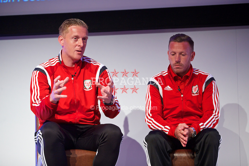 NEWPORT, WALES - Friday, May 29, 2015: Swansea City manager Garry Monk and Craig Bellamy during the Football Association of Wales' National Coaches Conference 2015 at the Celtic Manor Resort. (Pic by David Rawcliffe/Propaganda)