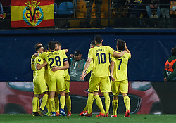 March 14, 2019 - Vila-Real, Castellon, Spain - Villarreal CF players celebrates a goal during the Uefa Europa League round of 16 second leg match between Villarreal and Zenit Saint Petersburg at Estadio de la Ceramica on March 14, 2019 in Vila-real Spain. (Credit Image: © AFP7 via ZUMA Wire)