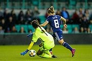 Kim Little (#8) of Scotland takes he ball around Eleni Ttakka (#1) of Cyprus and scores Scotland's second goal (2-0) during the Women's Euro Qualifiers match between Scotland Women and Cyprus Women at Easter Road, Edinburgh, Scotland on 30 August 2019.