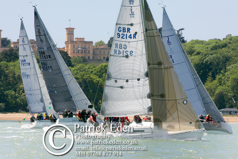 GBR 9214R, GBR 100X, GNR 7797R, GBR 7977R, 2013, UK, Isle of Wight, Cowes, Round the Island Race, J P Morgan Sports Photography