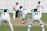 Tom Bailey beats Hassan Azad during the Specsavers County Champ Div 2 match between Leicestershire County Cricket Club and Lancashire County Cricket Club at the Fischer County Ground, Grace Road, Leicester, United Kingdom on 26 September 2019.