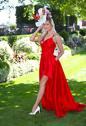 Model Harriadnie Beau arriving for day three of Royal Ascot at Ascot Racecourse.