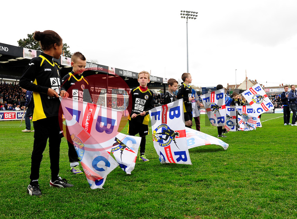 flag bearers  - Photo mandatory by-line: Dougie Allward/JMP - Mobile: 07966 386802 12/04/2014 - SPORT - FOOTBALL - Bristol - Memorial Stadium - Bristol Rovers v Torquay United - Sky Bet League Two