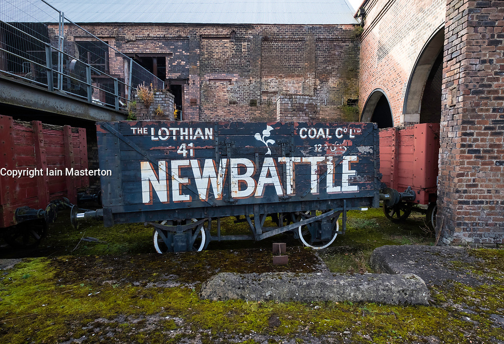 Old railway car for transporting coal  at the National Mining Museum at Newtongrange in Scotland, United Kingdom.