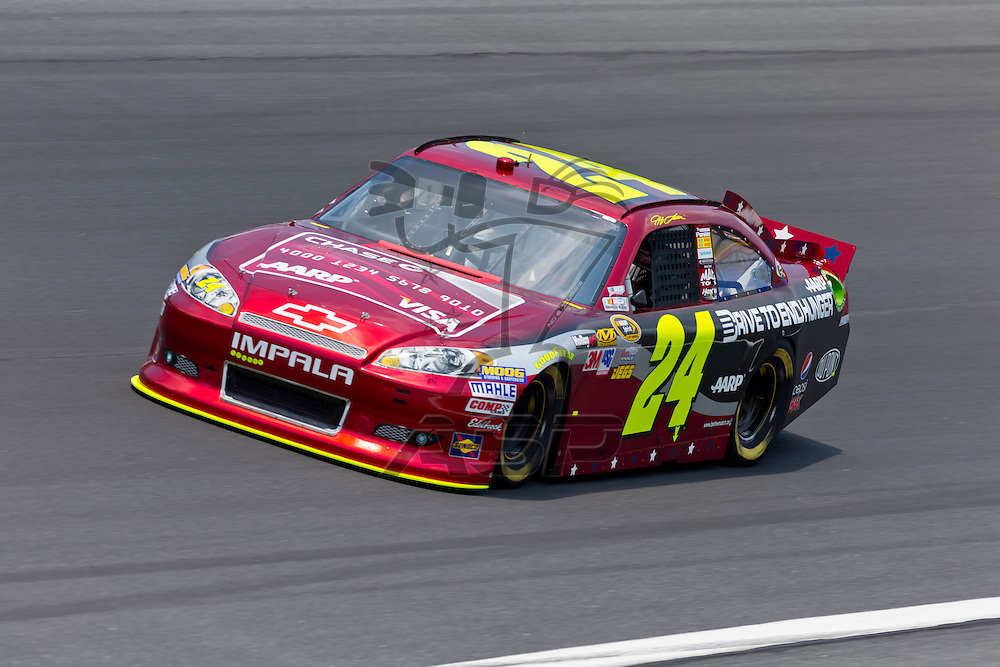 CONCORD, NC - MAY 26, 2012:  Jeff Gordon (24) brings his Drive To End Hunger Chevrolet on the track for a practice session for the Coca-Cola 600 at the Charlotte Motor Speedway in Concord, NC.