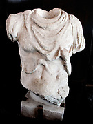 Headless marble statue of a man wearing a breast-plate. Most likely a portrait statue of an Emperor. Circa 2nd century AD. Found in the Flavian Amphitheatre.