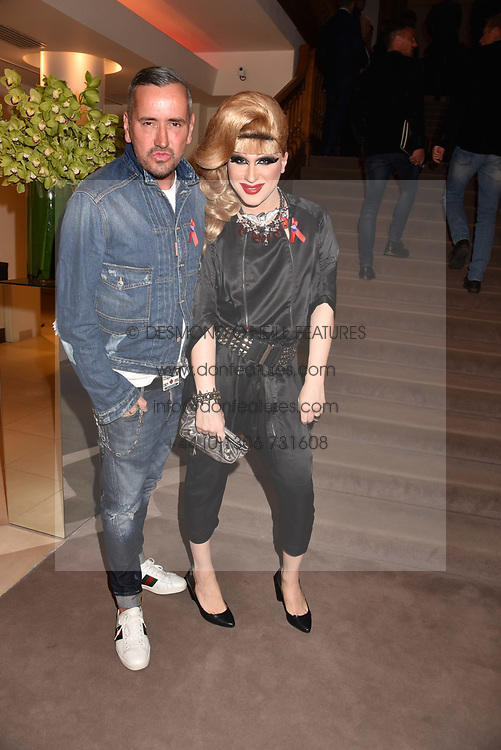 Fat Tony and Jodie Harsh at the Terence Higgins Trust Auction 2017 at Christie's, 8 King Street, St.James's, London England. 11 April 2017.