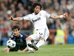 16.03.2011, Stadio Santiago di Bernabeu, Madrid, ESP, UEFA CL, Real Madrid vs Olympique de Lyon, im Bild Real Madrid's Marcelo scores during Champions League match. March 16, 2011. . EXPA Pictures © 2011, PhotoCredit: EXPA/ Alterphotos/ Alvaro Hernandez +++++ ATTENTION - OUT OF SPAIN / ESP +++++