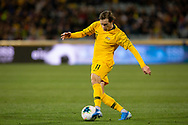 CANBERRA, AUSTRALIA - OCTOBER 10: Australian midfielder Craig Goodwin (11) passes the ball during the FIFA World Cup Qualifier soccer match between Australia and Nepal on October 10, 2019 at GIO Stadium in Canberra, Australia. (Photo by Speed Media/Icon Sportswire)