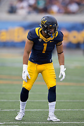 BERKELEY, CA - SEPTEMBER 12:  Linebacker Devante Downs #1 of the California Golden Bears lines up for a play against the San Diego State Aztecs during the second quarter at California Memorial Stadium on September 12, 2015 in Berkeley, California. The California Golden Bears defeated the San Diego State Aztecs 35-7. (Photo by Jason O. Watson/Getty Images) *** Local Caption *** Devante Downs