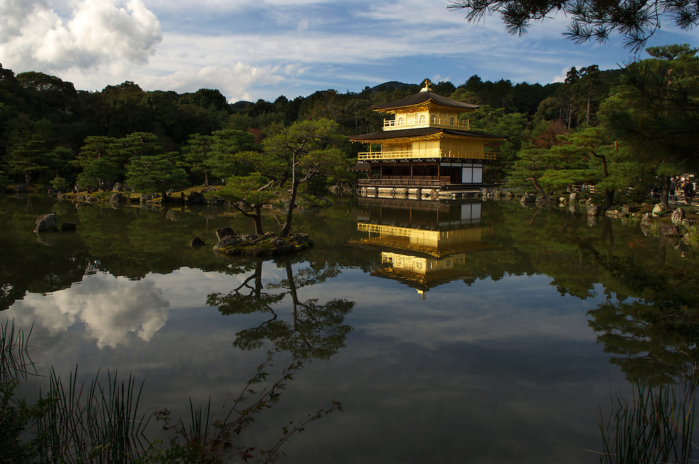 Kinkaku-ji (金閣寺 Temple of the Golden Pavilion), also known as Rokuon-ji, is a Zen Buddhist temple in Kyoto, Japan. The garden complex is an excellent example of Muromachi period garden design.