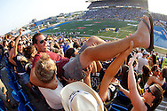 TREVOR HAGAN - Fans in the notorious Section S at CanadInns Bomber Stadium.<br /> July 25, 2010