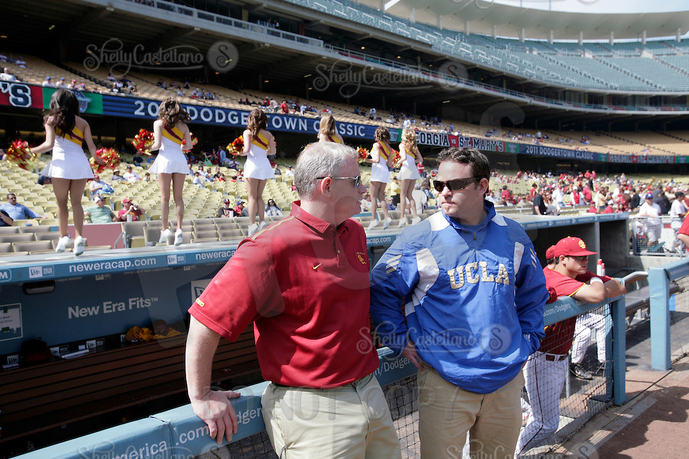 13 March 2011: NCAA Pac-10 college UCLA-USC sports rivalry baseball teams met in a non-conference game at Dodger Stadium as part of the Dodgertown Classic.  USC Trojans defeated the UCLA Bruins 2-0 during an afternoon weekend game inside the MLB stadium. Chris Grosskopf.