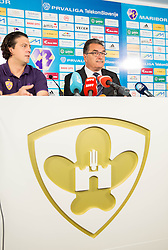 Zlatko Zahovic, sports director of NK Maribor and Ante Cacic of Croatia, new coach of NK Maribor when he signed a contract for best Slovenian football club on June 5, 2013 in Ljudski vet, Maribor, Slovenia. (Photo By Vid Ponikvar / Sportida)