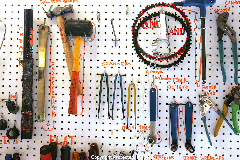 The Third Hand Bicycle Co-op keeps a supply of various bike tools for volunteers and members to work on their bikes..