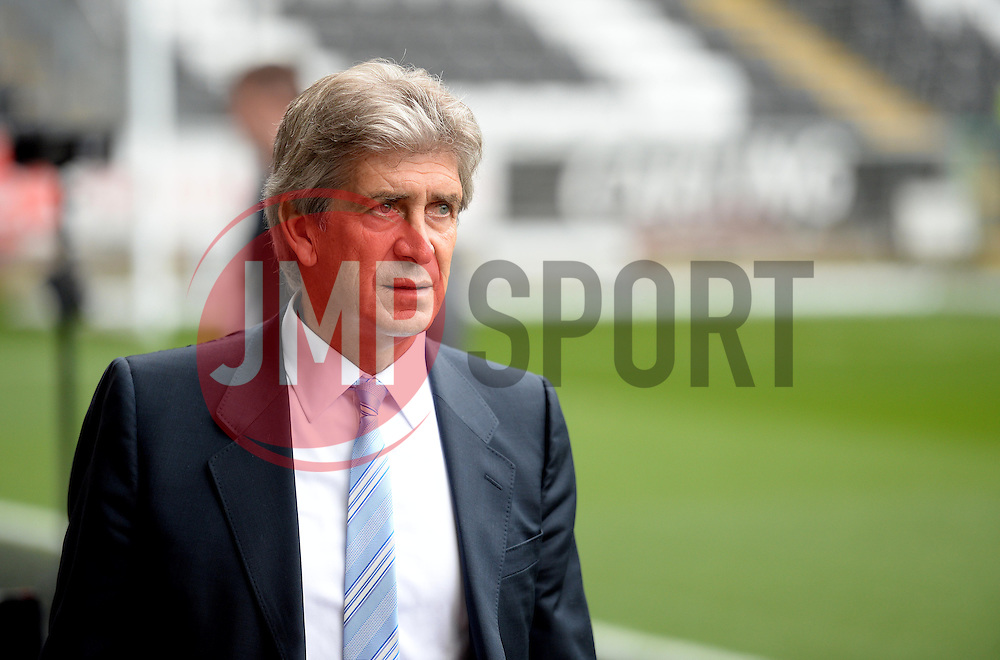 Manchester City Manager, Manuel Pellegrini arrives at the Liberty Stadium. - Photo mandatory by-line: Alex James/JMP - Mobile: 07966 386802 - 17/05/2015 - SPORT - Football - Swansea - The Liberty stadium - Swansea City v Manchester City - Barclays premier league