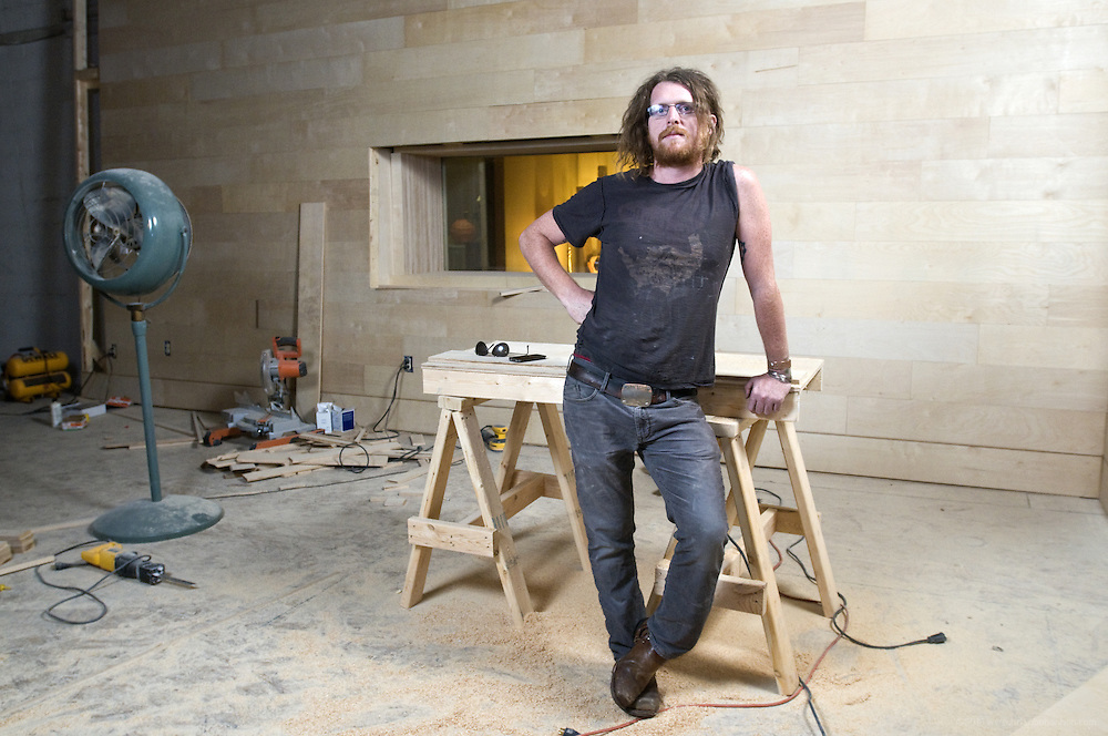 Musician and producer Kevin Ratterman poses in his nearly-finished studio, La La Land, Wednesday, Aug. 23, 2012 in Louisville, Ky., on Lexington Road. (Photo by Brian Bohannon)