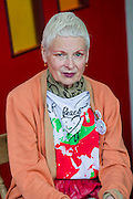 Vivienne Westwood (pictured) visits the Greenpeace area which includes a huge mock uo of the Arctic Sunrise , an exhibition of images aof the imprisoned Arctic 30 and a giant animatronic polar bear - all aimed at 'Saving the Arctic'. The 2014 Glastonbury Festival, Worthy Farm, Glastonbury. 27 June 2013.  Guy Bell, 07771 786236, guy@gbphotos.com
