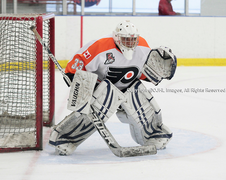 TORONTO, ON - Oct 18, 2015 : Ontario Junior Hockey League game action between Orangeville and Toronto, Kasimir Krol #33 of the Orangeville Flyers during the first period.<br /> (Photo by Mike Ivall / OJHL Images)