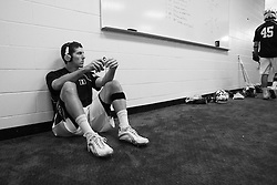 28 May 2007: Duke Blue Devils midfielder Matt Wilson (21) pregame in the locker room before playing Johns Hopkins in the NCAA Championship at M&T Stadium in Baltimore, MD.