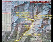 Nepal map indicating trekking to the Annapurna Sanctuary, in the Annapurna Conservation Area