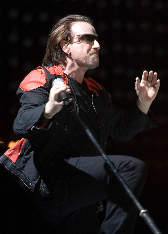 U2, Bono lead vocals, The Edge on lead guitar and Larry Mullen on Drums and Adam Clayton Bass guitar perform at the Delta Center in Salt Lake City, Utah Saturday Dec. 17, 2005. August Miller/ Deseret Morning News