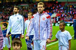 COPENHAGEN, DENMARK - Sunday, October 11, 2015: Denmark's Nicklas Bendtner entering the pitch before friendly game against France at Parken Stadium. (Pic by Lexie Lin/Propaganda)