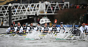 Putney, GREAT BRITAIN,   Oxford [right] start to move away from Cambridge, as the both crews approach Chiswick Pier during the  2008 Boat Race,  Oxford vs Cambridge raced over the 'Championship Course' Putney to Mortlake, on the River Thames, Sat 29.03.2008 [Mandatory Credit, Peter Spurrier / Intersport-images Varsity Boat Race, Rowing Course: River Thames, Championship course, Putney to Mortlake 4.25 Miles,