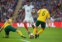 LONDON, ENGLAND - Sunday, March 26, 2017: England's Marcus Rashford in action against Lithuania's Mindaugas Grigaravičius during the 2018 FIFA World Cup Qualifying Group F match at Wembley Stadium. (Pic by Xiaoxuan Lin/Propaganda)